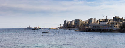 Wybrzeże w Bugibba, Malta Obraz Stock