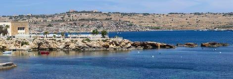 Wybrzeże w Bugibba, Malta Obrazy Royalty Free