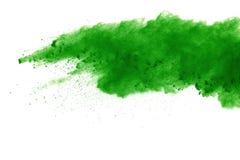 Wybuch barwiony proszek, odosobniony na białym tle Abstrakt splatted barwiony pył kolor chmura obrazy royalty free