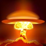 Wybuch bomby atomowej z pyłem ilustracja wektor