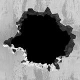 Wybuch dziura w beton pękającej ścianie przemysłowe tło Zdjęcia Stock