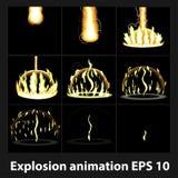 Wybuch, kreskówka wybuchu animaci ramy dla gry Sprite prześcieradło na ciemnym tle Fotografia Stock