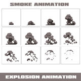 Wybuch, kreskówka wybuchu animaci ramy dla gry Sprite prześcieradło na ciemnym tle Dymna animacja Fotografia Stock