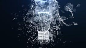 Wybuch płonąca lampa ligh żarówka lub Mali kawałki szklana komarnica oddzielnie w różnych kierunkach Skutek zdjęcie wideo