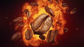 Wybuch piec kawowe fasole royalty ilustracja