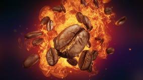 Wybuch piec kawowe fasole ilustracja wektor