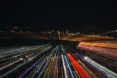 Wybuchu zoomu skutek, lekkie linie z długim ujawnieniem Fotografia Stock