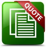 Wycena dokumentu stron ikony zieleni kwadrata guzik Zdjęcie Stock