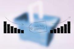 Wycena stategey rzeczy etykietka z wykresami od negatywu pozytyw Fotografia Stock