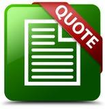 Wycena strony ikony zieleni kwadrata guzik Fotografia Royalty Free