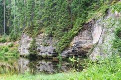 Wychody Taevaskoda na Ahja rzece Fotografia Stock