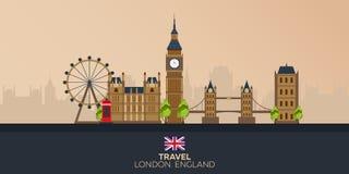 Wycieczka Londyn wakacje Wycieczka samochodowa Turystyka journeyer Podróżny ilustracyjny Londyński miasto Nowożytny płaski projek Obrazy Stock