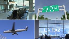 Wycieczka los angeles Paz Samolot przyjeżdża Boliwia montażu konceptualna animacja zbiory