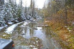 Wycieczka przez Syberyjskiej lasowej tajgi na droga samochodzie, Troszkę śnieg przechodzący Brudny, mokry, trudny przechodzić dro obraz royalty free