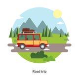 Wycieczka samochodowa Płaska projekt ikona samochodowa Europe mapy zabawki podróż Zdjęcia Stock