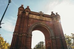 Wycieczka triumfalny łuk Barcelona Hiszpania zdjęcie royalty free
