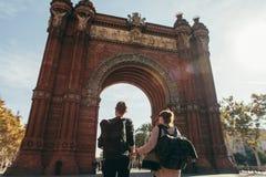 Wycieczka triumfalny łuk Barcelona Hiszpania obrazy royalty free