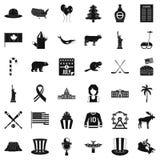 Wycieczki America ikony ustawiać, prosty styl Zdjęcie Stock