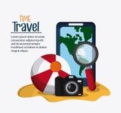 Wycieczki ikony set Czas podróżować projekt gdy dekoracyjna tło grafika stylizował wektorowe zawijas fala Zdjęcie Stock