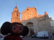 Wycieczki przez Hiszpania z Cheburashka Zdjęcia Royalty Free