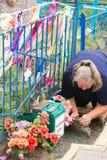 WYCIECZKI TURYSYCZNE BIAŁORUŚ, LIPIEC, - 15, 2017: Miejsce pielgrzymka Narastający kamieni krzyże Obraz Royalty Free