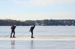 Wycieczki turysycznej łyżwiarki para przy wysoką prędkością Fotografia Royalty Free