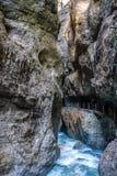 Wycieczkować Partnach wąwóz w Garmisch-Partenkirchen, Bavaria, Niemcy obrazy stock