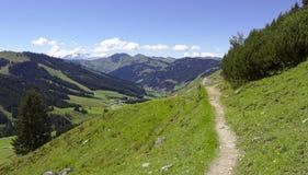Wycieczkować ślad wzdłuż Alp gór Obraz Stock