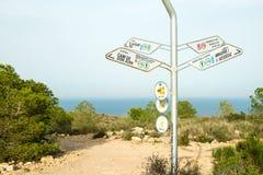 Wycieczkować kierunkowskaz na Costa Blanca Zdjęcia Royalty Free