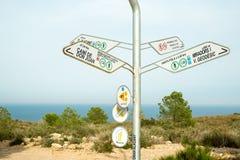 Wycieczkować kierunkowskaz na Costa Blanca Zdjęcie Royalty Free