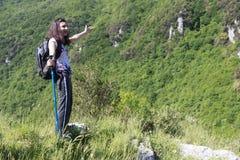Wycieczkowicz na górze Zdjęcie Stock