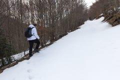 Wycieczkowicz na śniegu Zdjęcie Stock