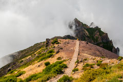 Wycieczkowicz podziwia Pico robi Arierio, Ruivo, madera, Portugalia, Europa Zdjęcia Royalty Free