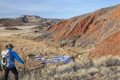 Wycieczkowicz w niewygładzonym Kolorado krajobrazie obraz royalty free