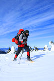 Wycieczkowicz w zima górach Fotografia Royalty Free