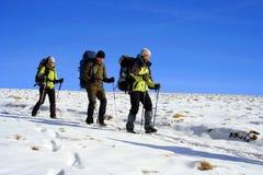 Wycieczkowicz w zima górach Zdjęcie Royalty Free