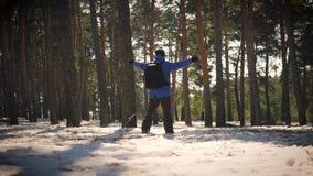 Wycieczkowicz z plecaka odprowadzeniem w sosnowym lesie zakrywającym z głębokim śniegiem Zimy aktywność i odtwarzania pojęcie zbiory wideo
