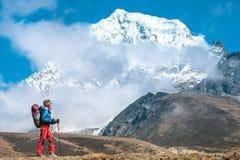 Wycieczkowicz z plecakami dosięga szczyt halny szczyt Succes Zdjęcia Royalty Free