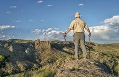 Wycieczkowicz z trekking słupami Fotografia Royalty Free