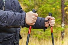 Wycieczkowicz z wycieczkować słupy w lesie Fotografia Stock
