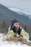 wycieczkowicza śnieg zdjęcie stock