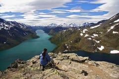 wycieczkowicza Norway target210_0_ Zdjęcia Stock