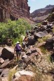 Wycieczkowicze na śladzie Kolorado rzeką w Grand Canyon fotografia royalty free