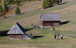 Wycieczkowicze w Wschodnich Carpathians Fotografia Stock
