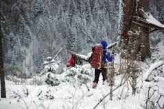 Wycieczkowicze w zim Carpathians górach Ukraina Obrazy Royalty Free