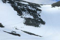 Wycieczkowicze wspina się stromego śnieżnego skłon w kierunku Kebnekaise Fotografia Stock