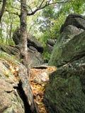 Wycieczkujący w górę skalistego terenu wzdłuż Appalachian śladu w południowym Pennsylwania, obrazy royalty free