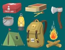 Wycieczkujący campingową wyposażenie podstawowego obozu przekładnię i akcesoria plenerową kreskówkę podróżuje wektorową ilustracj ilustracja wektor