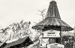 Wycieczkujący podpisuje wewnątrz Hrebienok, Wysokie Tatras góry, bezbarwne Zdjęcie Stock