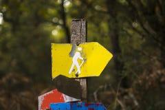 Wycieczkujący podpisuje wewnątrz las, zakończenie w górę fotografia royalty free